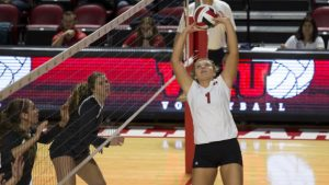 WKU Lady Toppers setter Jessica Lucas (1) | WKU Volleyball v Marshall | Photo by Megan Stearman | WKU Athletics
